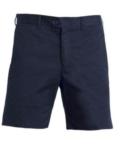 Bermuda classico cotone donna, due tasche anteriori a taglio classico, due tasche posteriori a filo, chiusura con bottoni, colore blu