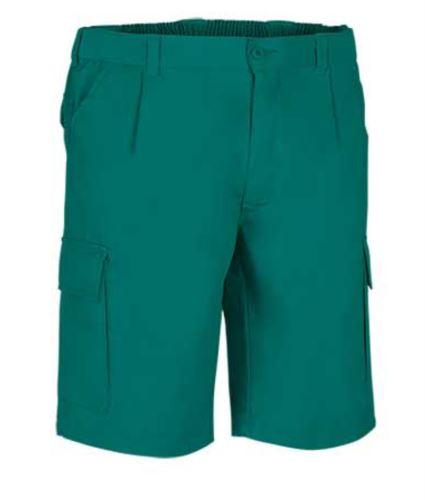 Bermuda multitasche da lavoro, chiusura con zip e bottone, colore verde