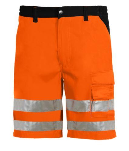 Bermuda multitasche alta visibilità bicolore con doppia banda sulle gambe, certificati EN 20471, colore arancione