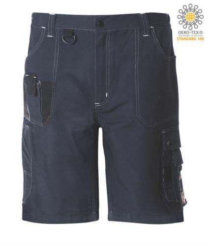 Bermuda da lavoro multitasche con dettagli e cuciture in contrasto, gancio portachiavi; colore blu/nero