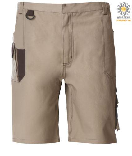 Bermuda da lavoro multitasche con dettagli e cuciture in contrasto, gancio portachiavi; colore beige/marrone