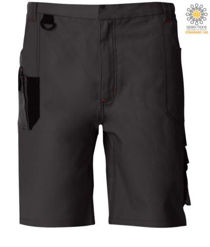 Bermuda da lavoro multitasche con dettagli e cuciture in contrasto, gancio portachiavi; colore grigio scuro/nero