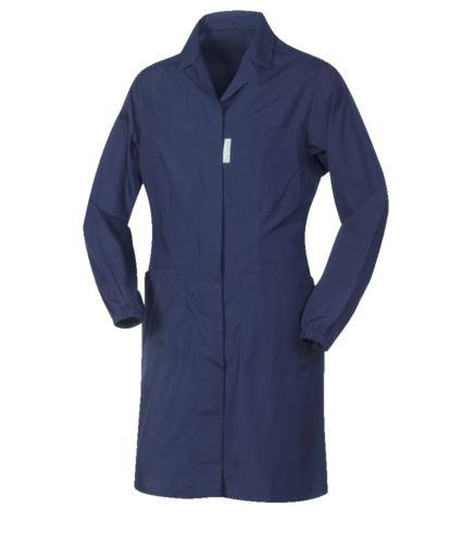 Camici da donna per uso lavorativo bottoni coperti color blu