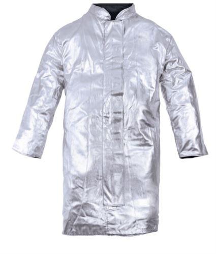 Camice da avvicinamento sfoderato a uno strato, collo alla coreana, chiusura con velcro, colore argento, certificato EN 11612:2009