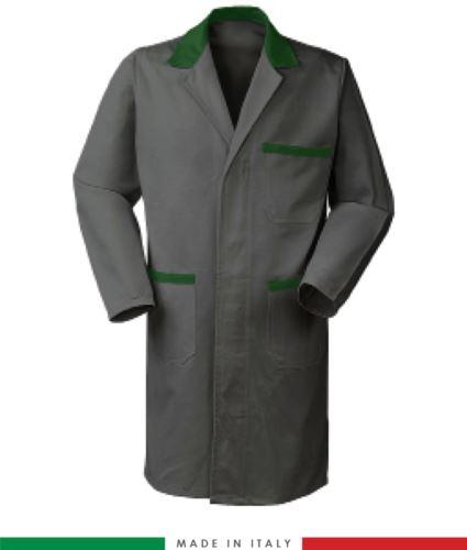 camice per lavoro da uomo bicolore grigio/verde con bottoni coperti
