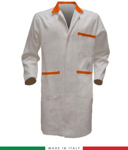 Camice da lavoro per uomo manica lunga made in italy colore bianco/arancione