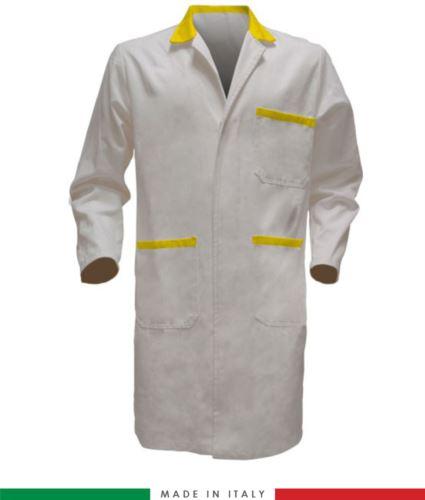Camice da lavoro per uomo 100% cotone made in Italy colore bianco/giallo