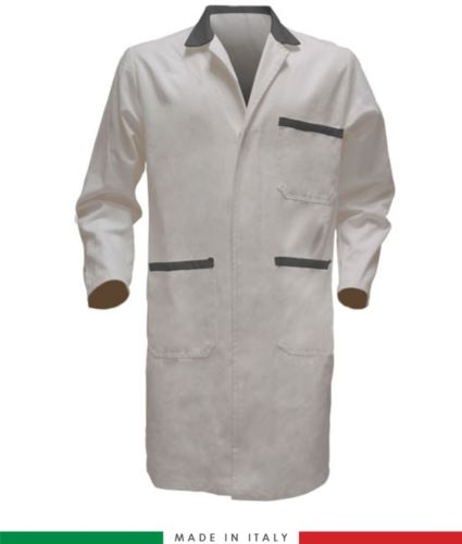 Camice da lavoro da uomo con bottoni coperti bianco/grigio