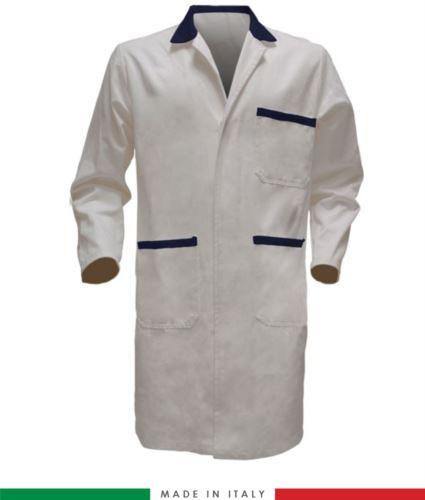 camice da lavoro bianco/blu per uomo con bottoni coperti