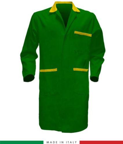 camice a manica lunga da lavoro made in italy colore verde e giallo