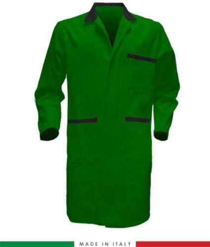 camice da uomo a manica lunga due tasche 100% cotone verde/nero