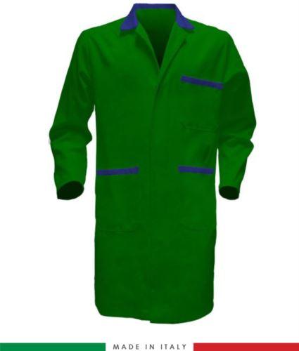 camice da lavoro per uomo a manica lunga verde/azzurro