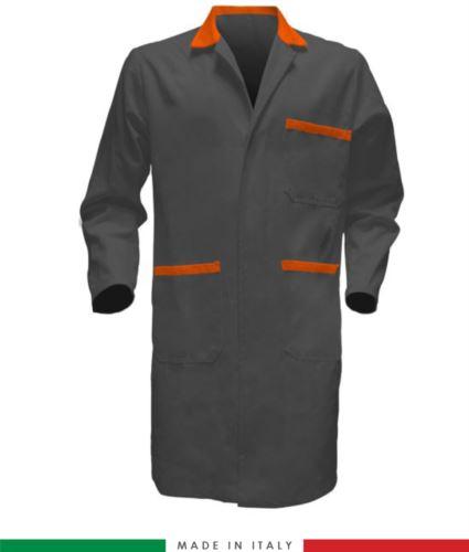 Camice da lavoro made in italy manica lunga colore grigio/arancio