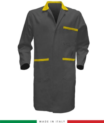 Camice da uomo in cotone per uso professionale grigio/giallo