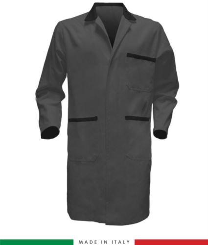 Camice da lavoro per uomo con bottoni coperti colore grigio/nero