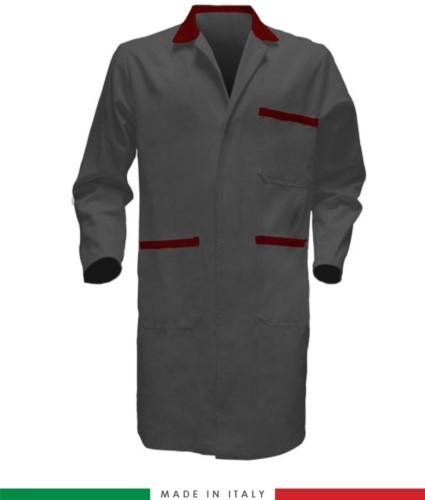 Camici da lavoro per uomo a manica lunga 100% cotone colore grigio/rosso