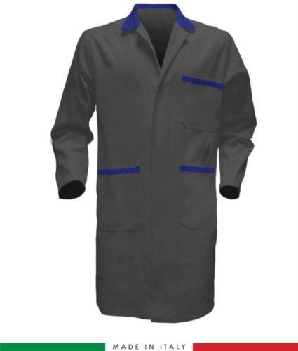 Camice da lavoro per uomo a manica lunga 100% cotone grigio/azzurro