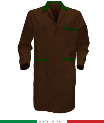 Camice bicolore da uomo a manica lunga colore marrone verde