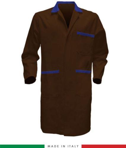 Camice da lavoro bicolore marrone ed azzurro 100% cotone