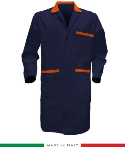 Camice da uomo manica lunga 100% Cotone massaua sanforizzato blu/arancione