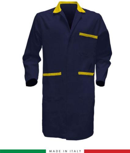 Camice da lavoro manica lunga 100% cotone massaua blu giallo