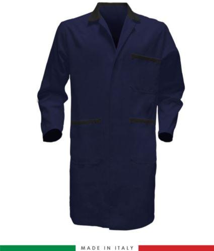 Camice da lavoro per uomo 100% Cotone massaua sanforizzato blu/nero