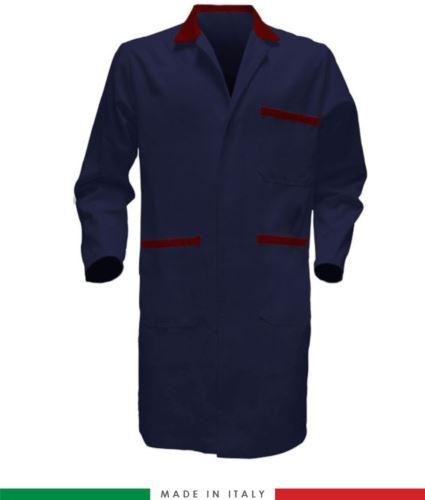 camice da lavoro blu/rosso in cotone massaua modello da uomo