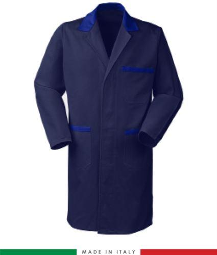 camici da lavoro a manica lunga made in Italy colore blu azzurro