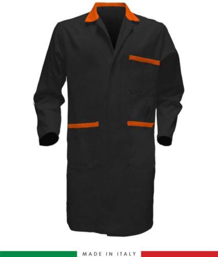 Camice da lavoro nero/arancione da uomo con manica lunga
