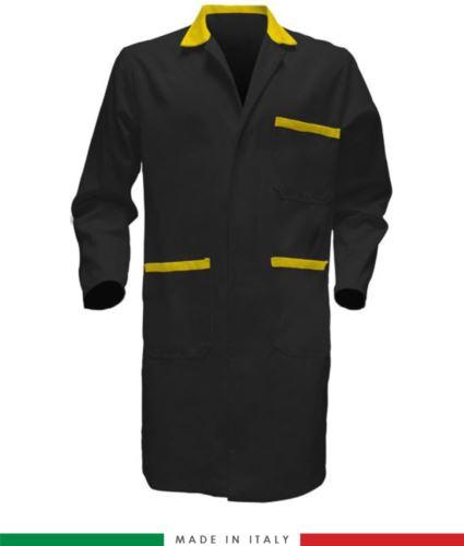 camici da uomo per uso professionale colore nero/giallo