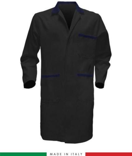 camice da lavoro per uomo colore nero/blu a manica lunga