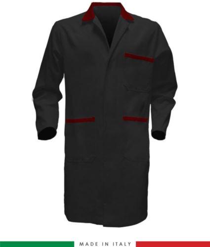 Camice da lavoro a manica lunga 100% cotone nero/rosso