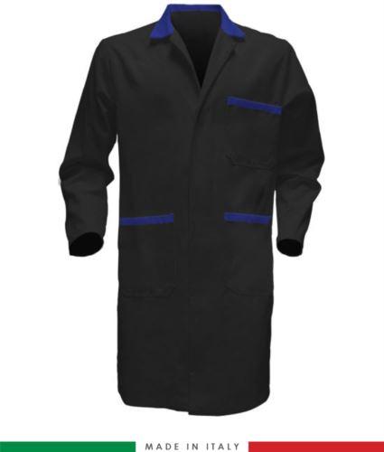 Camici da lavoro da uomo colore nero azzurro 100% cotone