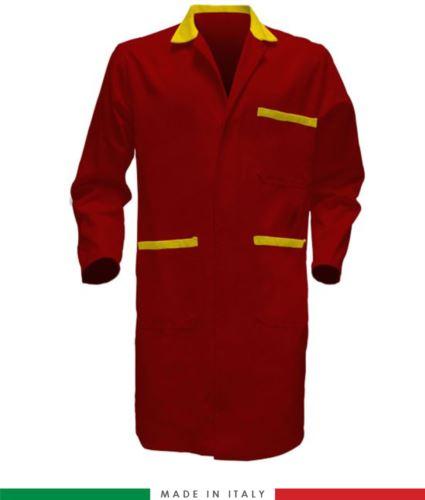Camice per uso professionale con bottoni coperti colore rosso