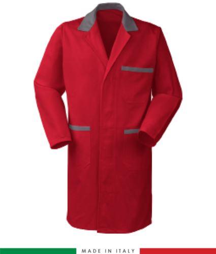 camice da lavoro per uomo in cotone colore rosso/grigio made in Italy