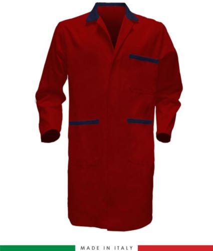 camice da lavoro per uomo manica lunga 100% cotone rosso/blu