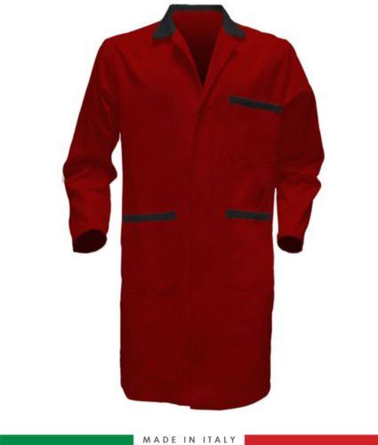 Camice da lavoro made in italy rosso/nero a manica lunga