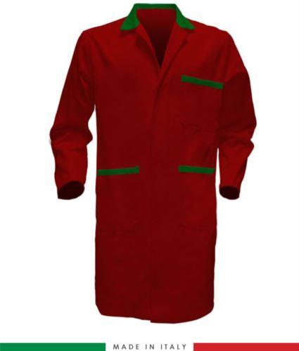 Camice a manica lunga in cotone con bottoni coperti rosso/verde