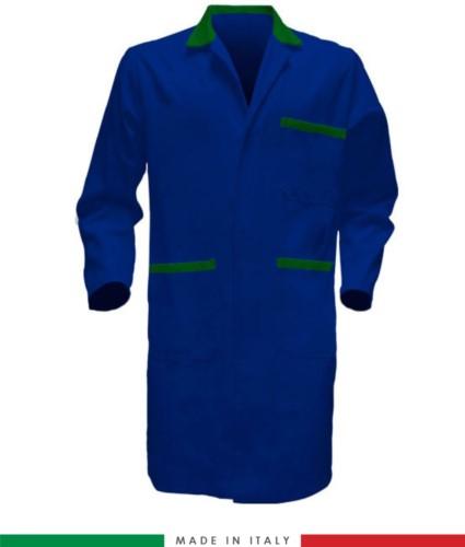 Camice da lavoro con bottoni coperti colore azzurro/verde