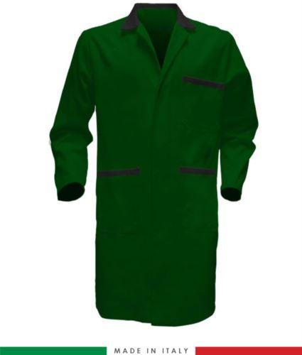 camice uomo bicolore a manica lunga da lavoro colore verde e nero