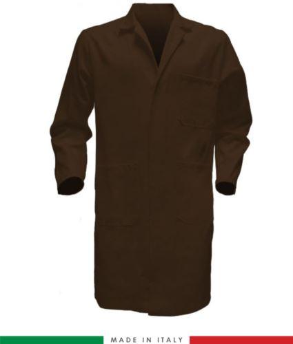 camice da lavoro per uomo color marrone 100% cotone