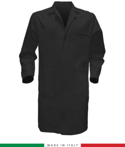 camici da lavoro per uomo a manica lunga colore nero