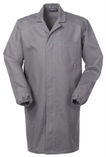 camice da lavoro grigio in cotone irrestringibile con bottoni coperti