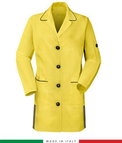 Camice donna a manica lunga 100% cotone giallo