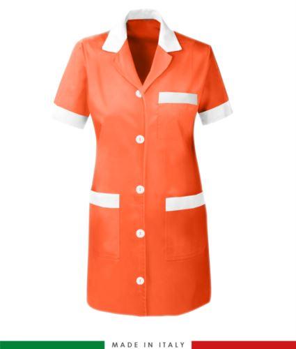Camice da lavoro da donna a manica corta arancione
