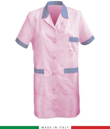 Camice da lavoro a manica corta rosa made in italy