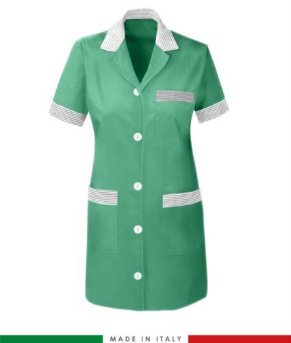 Camice da lavoro donna a manica corta color verde