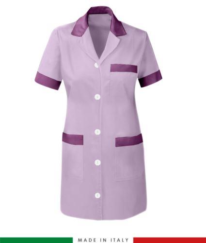 camice da donna poliestere e cotone manica corta lilla
