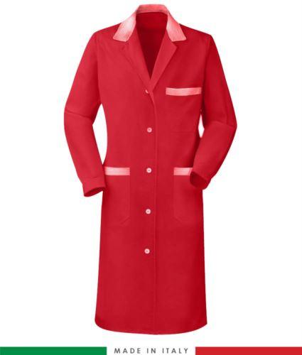 Camice da lavoro rosso a manica lunga made in italy