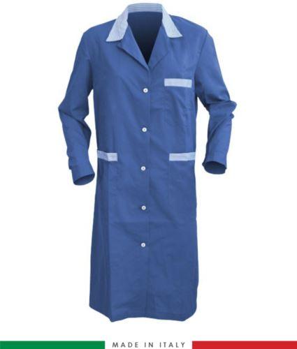 Camice donna da lavoro a manica lunga color azzuro royal